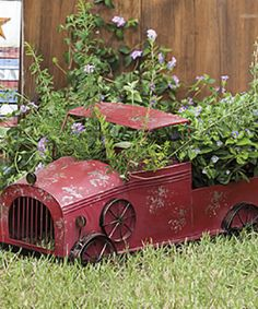 Look what I found on #zulily! Red Rustic Metal Truck Planter by Evergreen #zulilyfinds