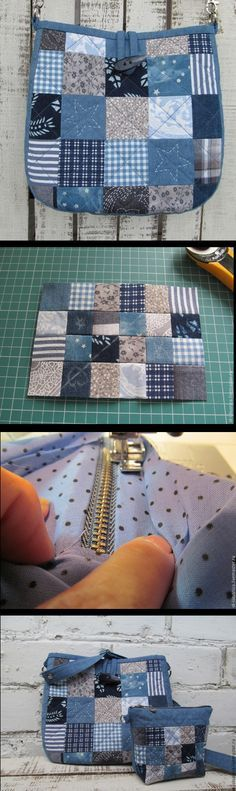 """""""Simple Pretty Boro Style Bag Sew Tutorial Do it yourself madness goes on full speed as everytime!"""", """"unfortunately just the cosmetics bag pattern, wo Patchwork Bags, Quilted Bag, Purse Patterns, Sewing Patterns, Tote Pattern, Sewing Tutorials, Sewing Projects, Bag Tutorials, Sacs Tote Bags"""