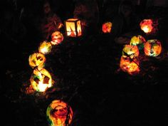 Colorful paper lanterns....would be so pretty for an autumn equinox celebration or camping!
