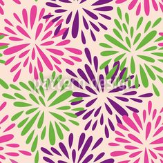 Seamless Pink Purple And Green Floral Burst Pattern Posters, Art Prints by - Interior Wall Decor Vector Pattern, Pattern Design, Clip Art Pictures, Free Vector Illustration, Organic Shapes, Cartoon Styles, Pink Purple, Fine Art Prints, Floral