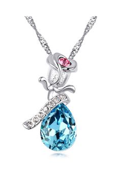 Beautiful Blue Crystal Stone Silver Chain Necklace #Beautiful #Blue #Fashion #Jewelry