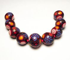 Handmade Beads Polymer Clay Set of 9 by SweetchildJewelry on Etsy, $22.50