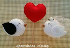 Topo de bolo Coração (palitinho) | Pombinhos Cake Top | Elo7