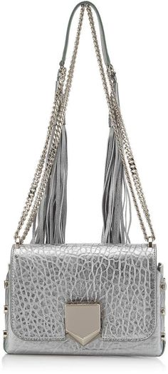 Jimmy Choo LOCKETT PETITE Platnum Metallic Grainy Leather Shoulder Bag with Tassel Shoulder Strap