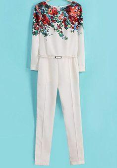 Jumpsuits floral con cinto-blanco 22.53