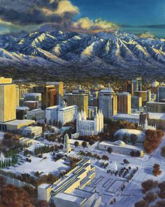 This image depicts a view of the Salt Lake Valley during the 2002 Winter Olympics. This painting appeared on a commemorative plate distributed to various dignitaries during the games. Utah Temples, Lds Temples, 2002 Winter Olympics, Salt Lake City, Skyline, Plate, Fine Art, Architecture, Games