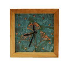Patina Gingko Box Clock in Cherry Wood & Patina Copper Face. By Sabbath-Day Woods. Sabbath Day, Wood Clocks, Wood Art, Woods, Cherry, Copper, Box, Face, Handmade