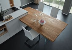 thick solid oak top with Ice legs by AltaCorte. Kitchen Island Dining Table, Modern Kitchen Tables, Kitchen Cabinets Decor, Kitchen And Bath Design, Modern Kitchen Design, Diy Kitchen, Kitchen Interior, Open Plan Kitchen Living Room, Cuisines Design