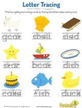 Practice #spelling each word by tracing the letters. #prek #earlylearning #printables