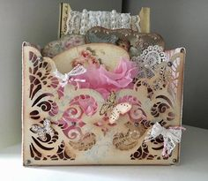 Ellen Prinsen made this gorgeous box using our ModaScrap Lace Pocket die! A perfect way to store tiny trinkets, not to mention a great home decor piece! Buy the Lace Pocket here: https://www.elizabethcraftdesigns.com/products/lace-pocket