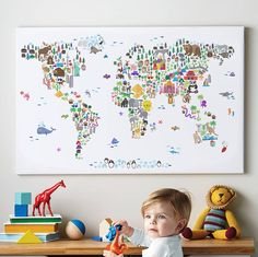 Map of the World artwork made out of animals? Fits an animal theme for a nursery or child's bedroom. Poster Prints, Framed Prints, Canvas Prints, Print Map, Devon, Maps For Kids, Africa Map, Color Depth, Colorful Animals
