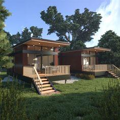 Modern modular home design with twin decks, flat roof, steel siding, LED pot lights built around a firepit courtyard.