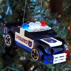 LEGO Police Car Christmas Ornament by ornaments4charity on Etsy, $14.00