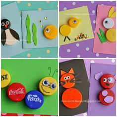 14 Idées ingénieuses d'activités pour enfants avec des bouchons en plastique Easy Crafts For Kids, Crafts To Do, Art For Kids, Arts And Crafts, Recycled Art Projects, Recycled Crafts, Craft Projects, Plastic Bottle Crafts, Bottle Cap Crafts