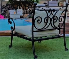 made by Yefiel.co.il a blacksmith for outdoor use neear the swimming pool or in the garden Full Set, Outdoor Furniture, Outdoor Decor, Blacksmithing, Swimming Pools, Bench, Iron, Chair, Garden