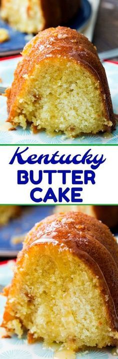 Kentucky Butter Cake is an insanely moist pound cake with a sweet, buttery sauce that soaks through the cake. This cake tastes even better the next day! Just Desserts, Delicious Desserts, Dessert Recipes, Yummy Food, Baking Desserts, Bunt Cakes, Cupcake Cakes, Cupcakes, Poke Cakes