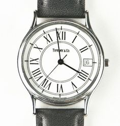 Tiffany & Co. Stainless Steel Men's Quartz Watch w/ Date Feature & Leather Band #TiffanyCo #Casual