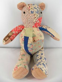 Old Vintage Patchwork Quilt Teddy Bear Movable Arms Legs Button Eyes | eBay