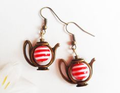 Quirky brass teapot earrings with red and white lollipop / candy cane bead, antique / vintage style brass, Alice in Wonderland, Selma Dreams by SelmaDreams on Etsy