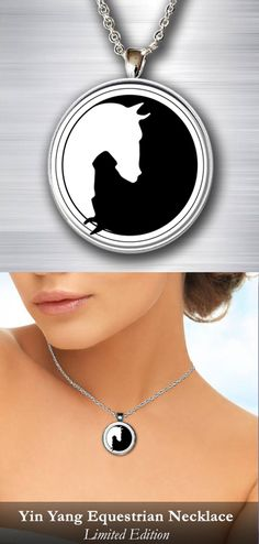 Equestrian artwork necklace. If you love horses you'll love this! See it here => https://www.gearbubble.com/yin-yang-equestrian-necklace