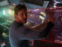 Chris Pratt on set Guardians of the Galaxy (2014) #chrispratt #guardiansofthegalaxy #behindthescenes #follow