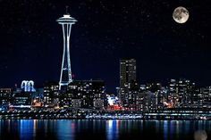 Seattle Skyline at Night | Seattle Skyline At Night With Full Moon Photograph…