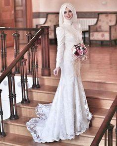 muslim wedding dress code for ladies Muslim Wedding Gown, Modest Wedding Gowns, Muslim Wedding Dresses, Muslim Brides, Wedding Hijab, Wedding Dress Train, Wedding Dress Chiffon, Tulle Wedding, Cheap Wedding Dress