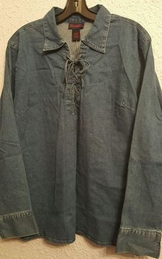 Denim & Co. - Blouce, Large, denim shirt, L, New with tags! #DenimCo #Western #Casual