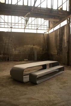 thedesignwalker:  Makoto Fukuda Designs A Concrete Table And Bench For Escofet: Benches, Makoto Fukuda, Interiors Design, Concrete Tables, Fukuda Design, Escofet, Furniture Design