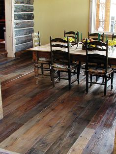 Amazing Barn Wood Laminate Flooring Absolutely Beautiful Wish I Could Renovate My Home To Be Totally Love The Tone In Reclaimed Floor Barnwood Depot Menard Lowe Canada Oak Classic Style Shaw Wood Laminate Flooring, Hardwood Floors, Tile Flooring, Dark Flooring, Rubber Flooring, Kitchen Flooring, Deco Boheme Chic, Reclaimed Wood Floors, Distressed Wood Floors