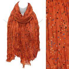 Scarf / Sarong Rust Orange Wrap Polka Dot Print Lightweight Crinkled Fabric   http://stores.ebay.com/beachcats-bargains  beachcats bargains