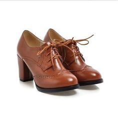 Women Retro Lace Up Block Heel fAUX Leather Round Toe Casual Oxfords Shoes US 8