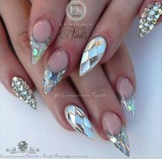 Crystal glass look nail art design on Stiletto nails, super pretty! | ideas de unas | ongles