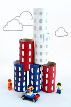 Roll Crafts: City Build & Play DIY Stacking Toy Toilet Roll City - the perfect make and play craft with limitless stacking toy possibilities.Toilet Roll City - the perfect make and play craft with limitless stacking toy possibilities. Kids Crafts, Craft Activities For Kids, Projects For Kids, Diy For Kids, Diy And Crafts, Arts And Crafts, Craft Ideas, Craft Projects, Recycled Crafts