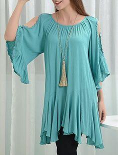 34765fa0cd6a3e Caribbean Dreamin Peep Sleeve Asymmetrical Hem Tunic Top   Mini Dress Aqua  Blue Plus Size 2XL. Shoulder SleeveCold ...
