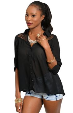 3/4 Sleeve Blouse With Cutout Floral Lace Yoke
