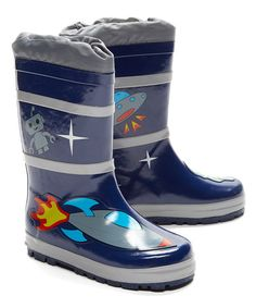 This Blue Space Hero Rain Boot is perfect! #zulilyfinds