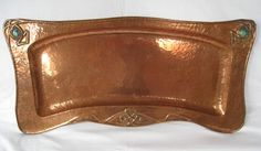 "Potteries Guild of Cripples - Tray, #161. Hammered Copper with Pottery Roundels. Hanley, Staffordshire, England. Circa 1902-1907. 11-1/2"" x 26""."