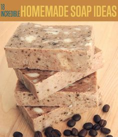 Have you made soap without lye before? This cinnamon hazelnut coffee soap is made with rebatch soap base, cinnamon, and ground hazelnut coffee beans. Soap Making Recipes, Homemade Soap Recipes, Homemade Gifts, Coffee Soap, Savon Soap, Soap Tutorial, Little Presents, Soap Base, Lotion Bars