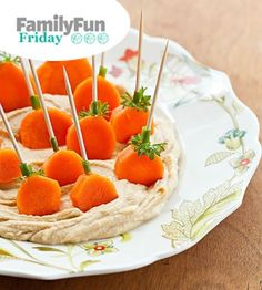 Easy Healthy Halloween Snack Carrots & Hummus Party Appetizer Food