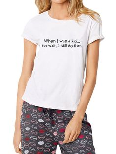 093c7636a14 Dresswel Women WHEN I WAS A KID Funny Letter Print Round Neck Short Sleeves  Cute Hatred T shirt Tops