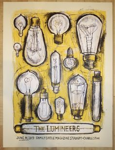 "The Lumineers - silkscreen concert poster (click image for more detail) Artist: Dan Grzeca Venue: Family Circle Magazine Stadium Location: Charleston, SC Concert Date: 6/14/2013 Size: 18"" x 24"" Editio"