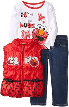Sesame St Little Girls' Elmo 3 Piece Heart Nylon Vest Set  http://www.beststreetstyle.com/sesame-st-little-girls-elmo-3-piece-heart-nylon-vest-set/