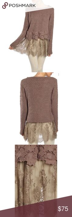 Floral Crochet Accent Sweater W/ Lace | Cocoa The floral crochet accent sweater made from cream soft knitted fabric with gorgeous lace detailing to finish off this adorable long sleeve cozy yet elegant sweater top. Ryu Sweaters Crew & Scoop Necks