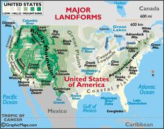 A map detailing the major landforms of the United States Map, United States Map, Study Unit, Us Geography, Social Studies Elementary, Homeschool Social Studies, Homeschool History, Homeschool Geography, Landform Projects