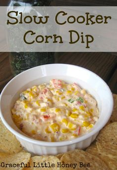 This slow cooker corn dip is creamy and so amazingly delicious! It's seriously the best dip I've ever had!