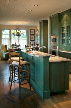 Lake House Kitchen with Green Cabinetry