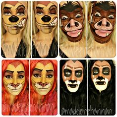 Timon - Pumba - Simba - Scar Lion King make up Lion King Play, Lion King Jr, Halloween Makeup Looks, Halloween Make Up, Halloween Costumes, Disney Halloween Makeup, Halloween Zombie, Halloween Face, Face Painting Designs