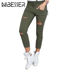 f81ba5939a5 NIBESSER 2017 Plus Size Skinny Pants Women Sexy Holes Pencil Pant Female  High Waist Women Slim