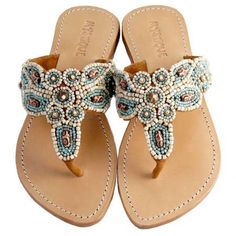 Mystique Natural and Turquoise Sandals Flat Thong Women's Sandals
